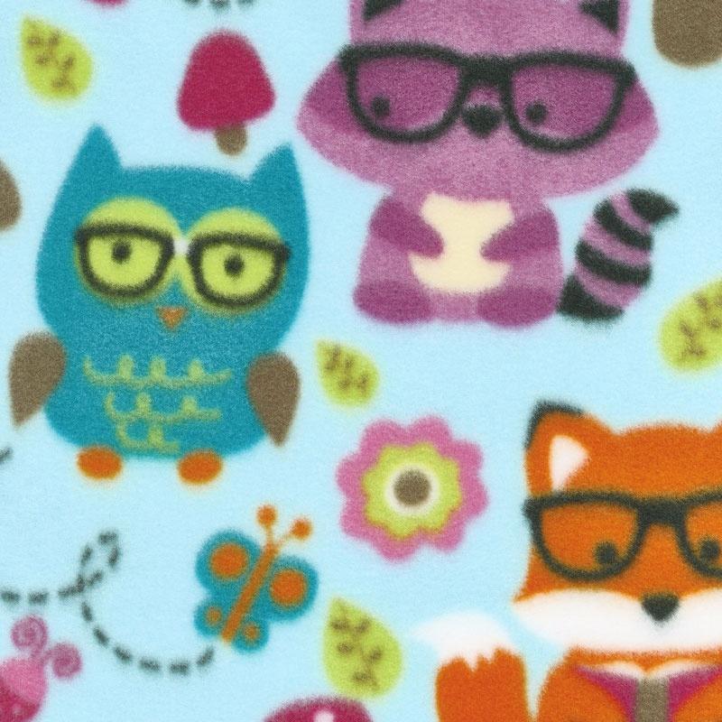 Winterfleece Prints Children - Nerdy Forest Friends Light Blue Fleece Yardage