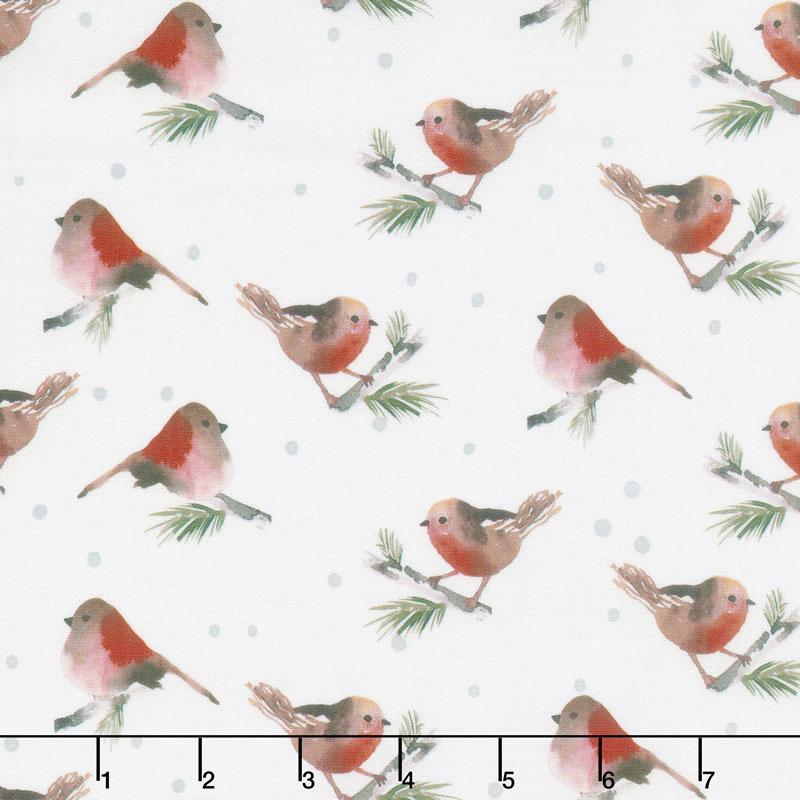 Winter Woods - Birds in White Yardage