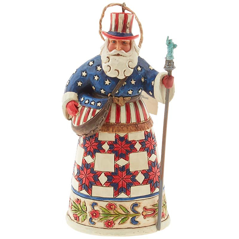 Jim Shore Heartwood Creek American Santa Ornament