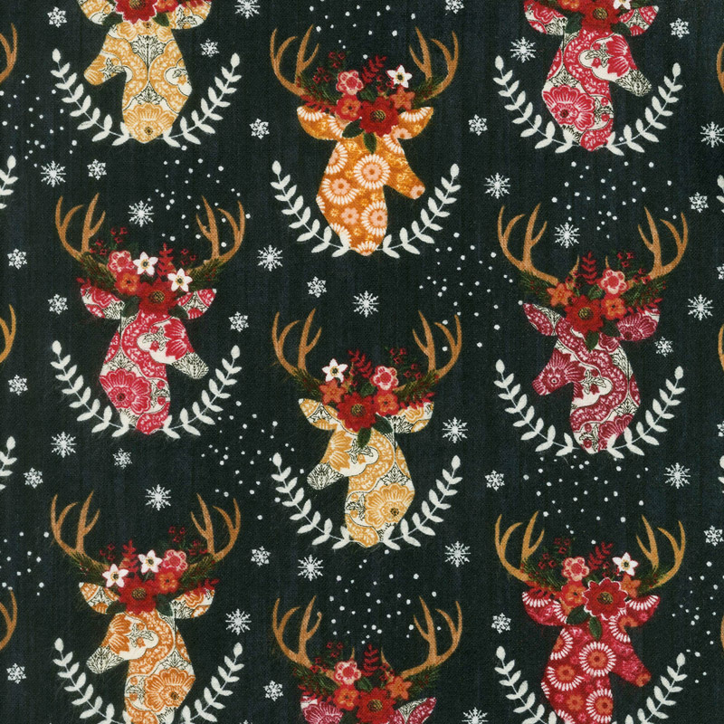 Christmas Novelties - Stag Heads Black Flannel Yardage