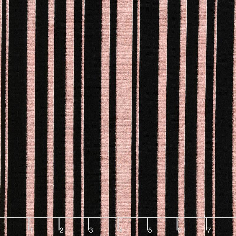 Bliss - Stripes Black with Rose Gold Sparkle Yardage