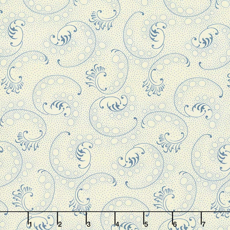 Mood in Blue - Blow Me a Kiss Cream Yardage