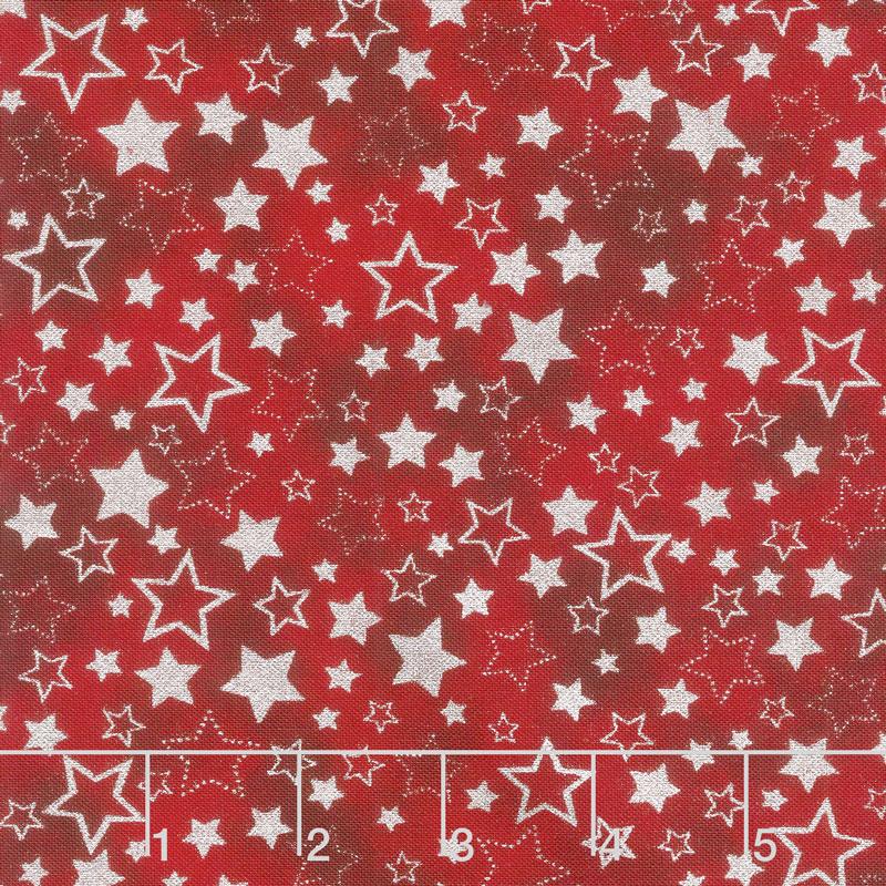 Winter's Grandeur 7 - Scarlet Stars Scarlet Metallic Yardage