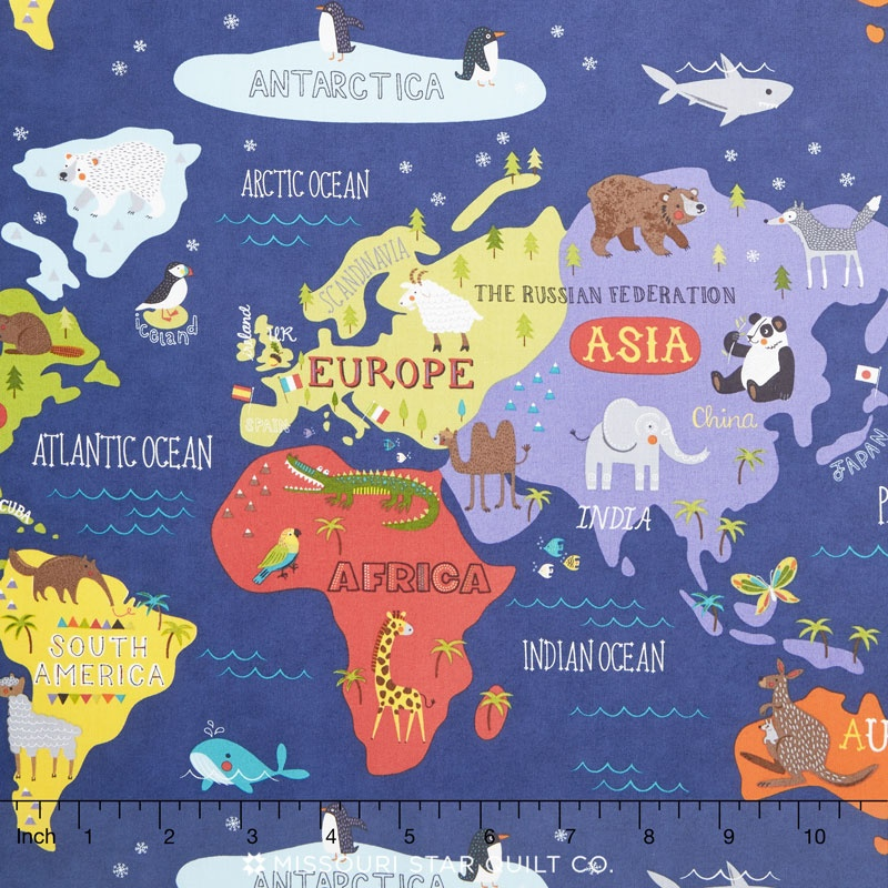 Hello World - World Map Navy Yardage