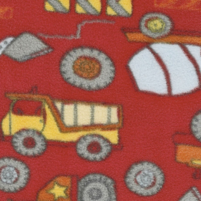 Fleece Novelty Prints - Construction Zone Red Yardage