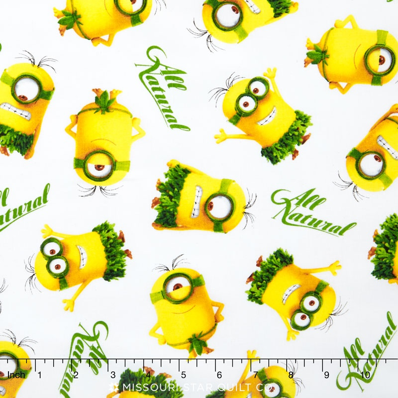 Minions - All Natural Minion Toss White Yardage - Quilting Treasures