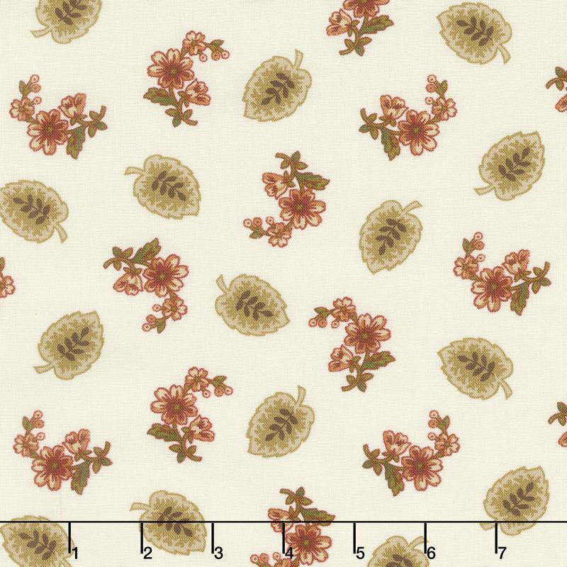 Buttermilk Blossoms - Leaf & Spray Toss Cream Yardage