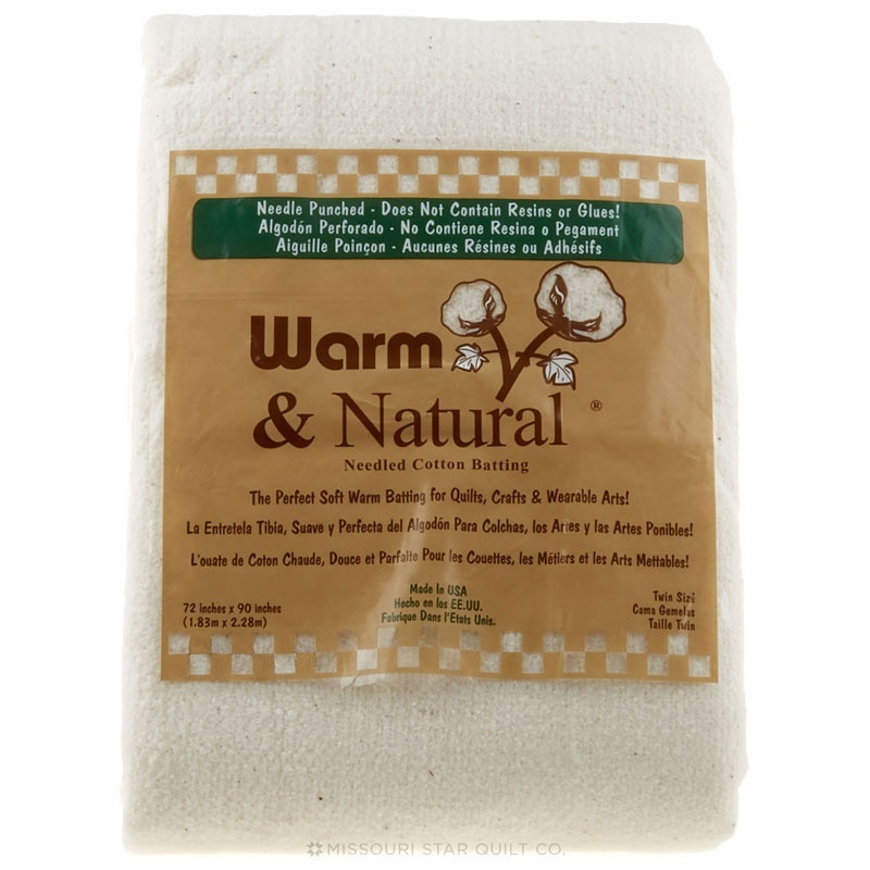 Pack of 2 Warm Company Batting 2391 72-Inch by 90-Inch Warm and Natural Cotton Batting Twin