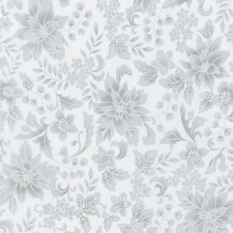 Holiday Flourish 12 - Scarlet Poinsettia Grey Yardage