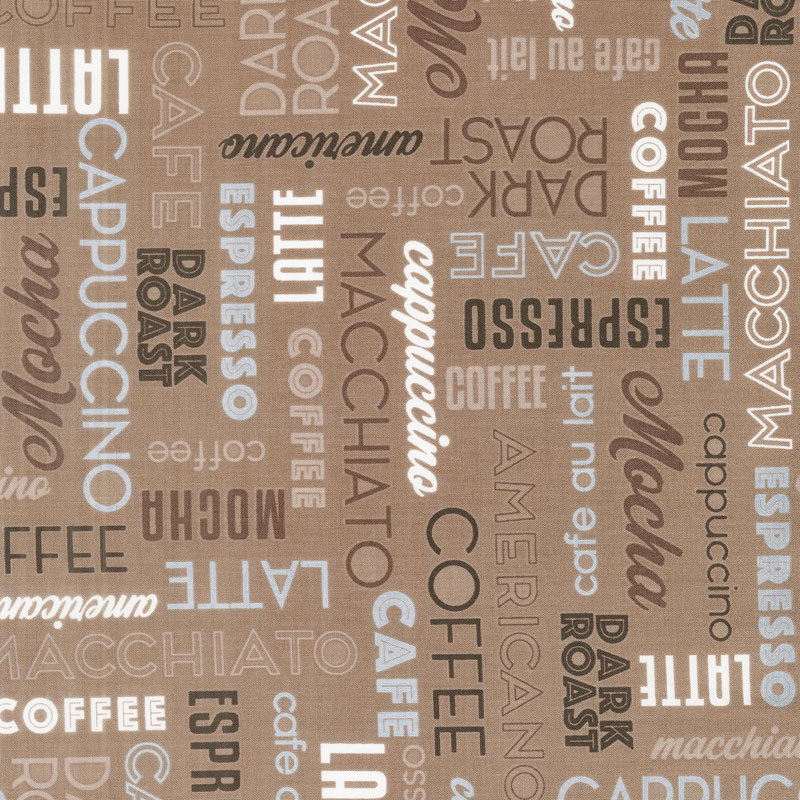 Dark Roast - Coffee Words Mocha Yardage