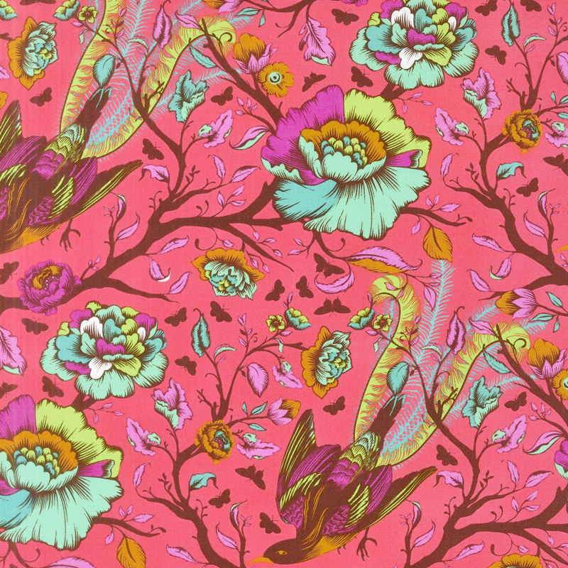 Tula Pink's All Stars - Tail Feathers Poppy Yardage