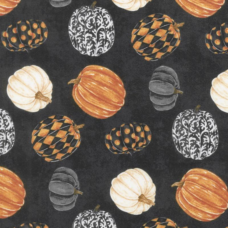 Raven's Claw - Rolling Pumpkins Black Multi Yardage