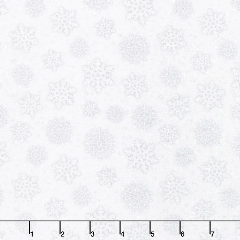 Snowy Wishes - Snowflakes Light Gray Yardage