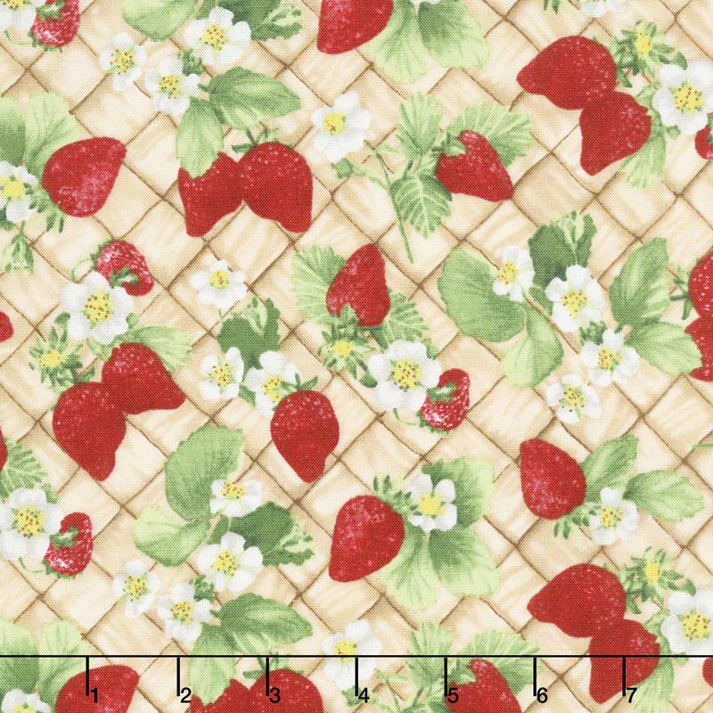 Ambrosia Farm - Berry Picking Tan Fabric Yardage