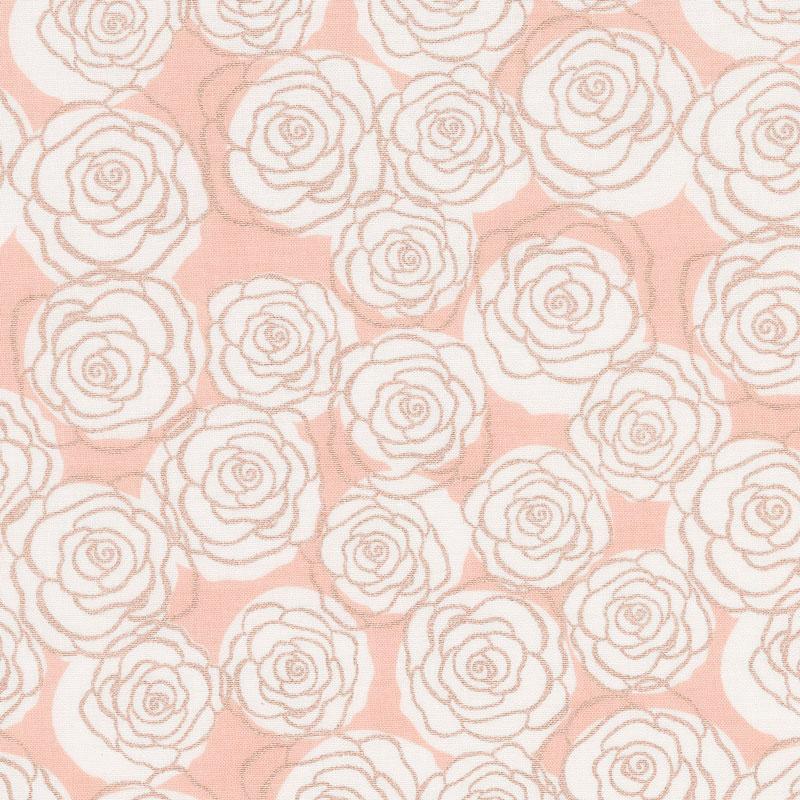 Bliss - Roses Blush with Rose Gold Sparkle Yardage