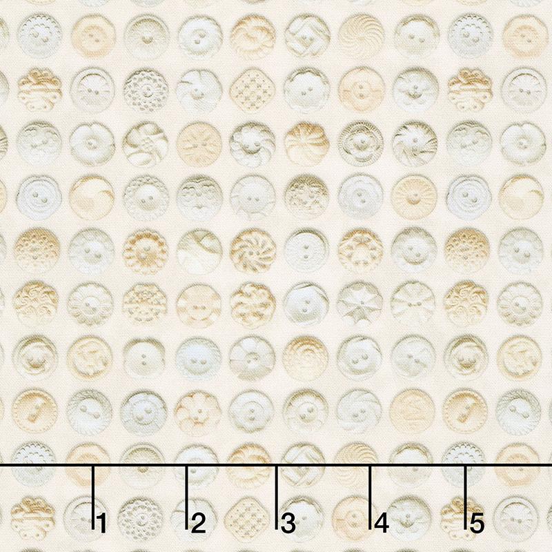 Flea Market Mix - Bakelite Buttons Parchment Cream Yardage