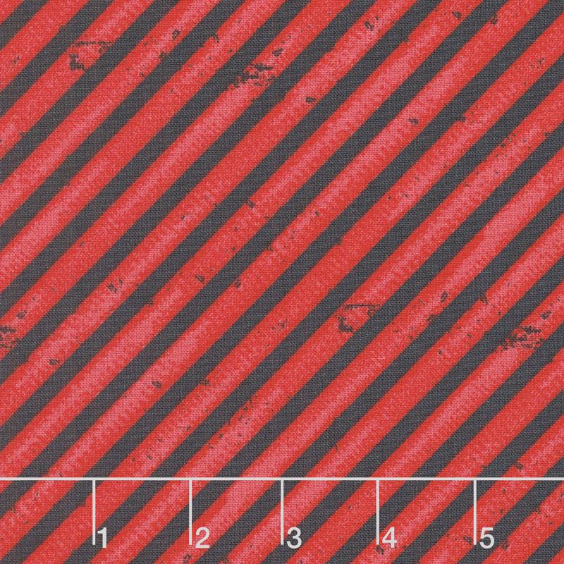 Detour Ahead! - Diagonal Stripe Red Yardage