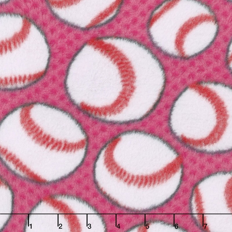 Fleece Novelty Prints - Baseballs Pink Yardage
