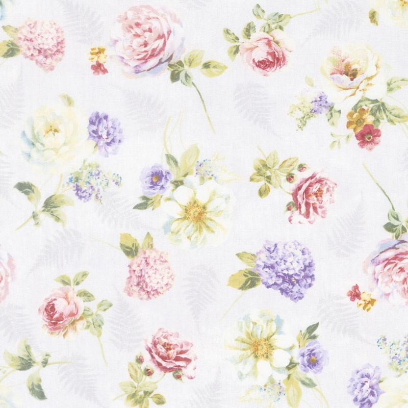 Butterfly Haven - Tossed Floral Gray Yardage