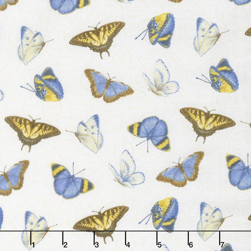 My Sunflower Garden - Tossed Butterflies White Multi Yardage