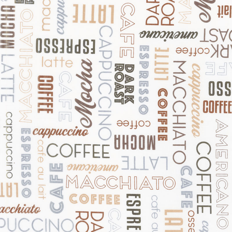 Dark Roast - Coffee Words Cream Yardage