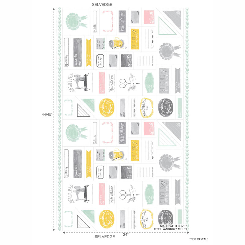 Made with Love - Quilt Label White Multi Panel