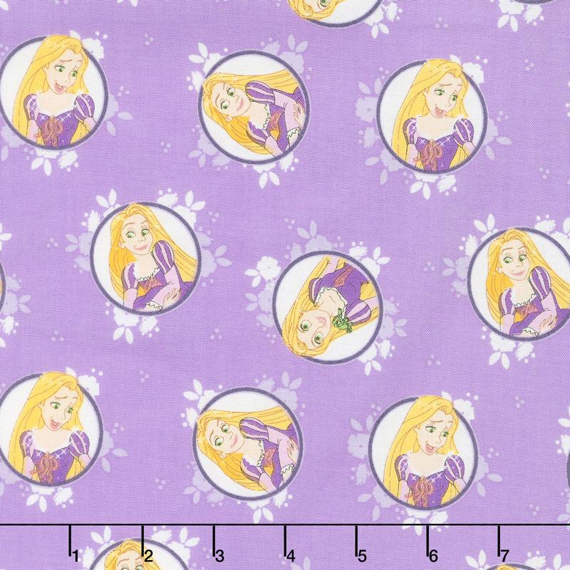 Disney Forever Princess - Rapunzel in Circles in Purple Yardage