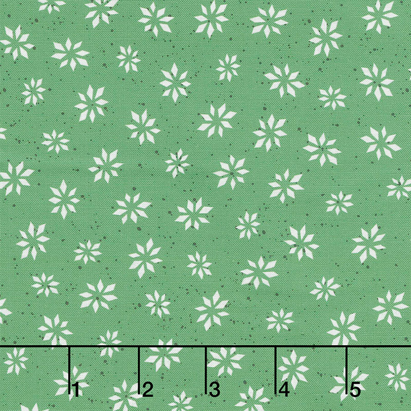 Warm Wishes - Snowflake Star Green Yardage