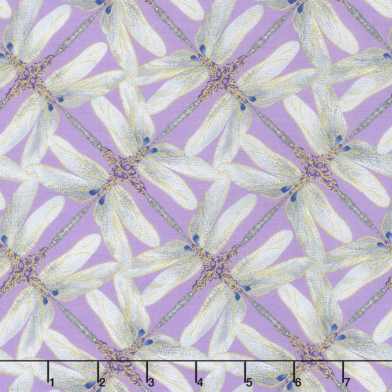Dragonfly Dance - Purple Pinwheel Geometric Lavender Gray Metallic Yardage