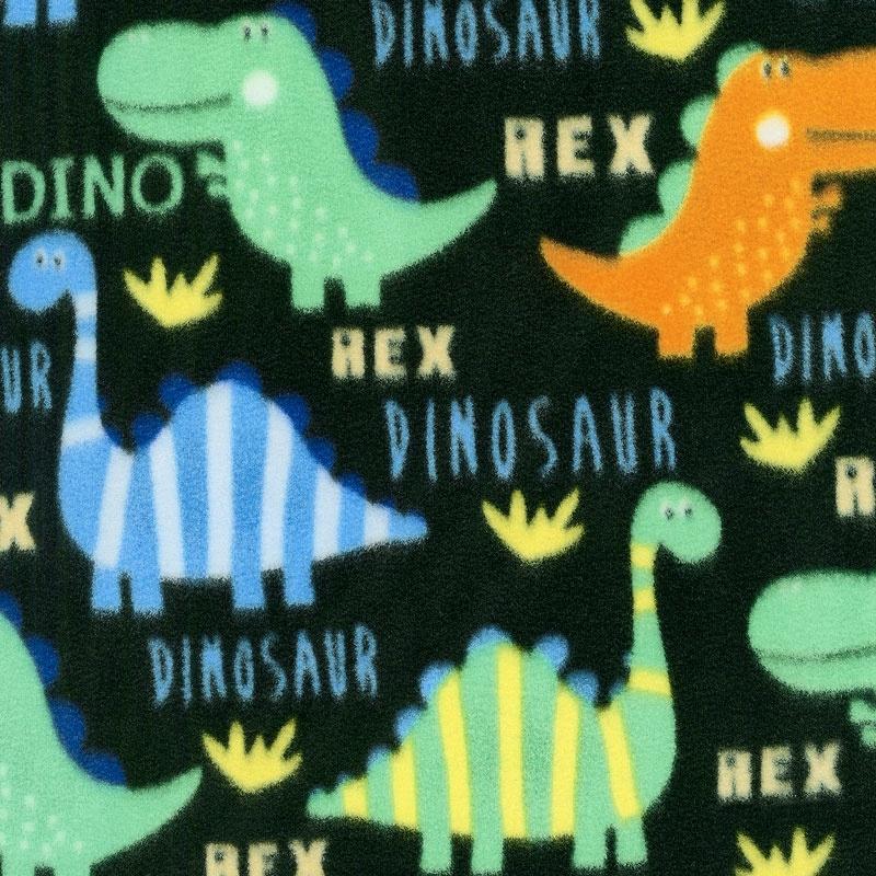 Winterfleece Prints Children - Bright Dinos Black Fleece Yardage