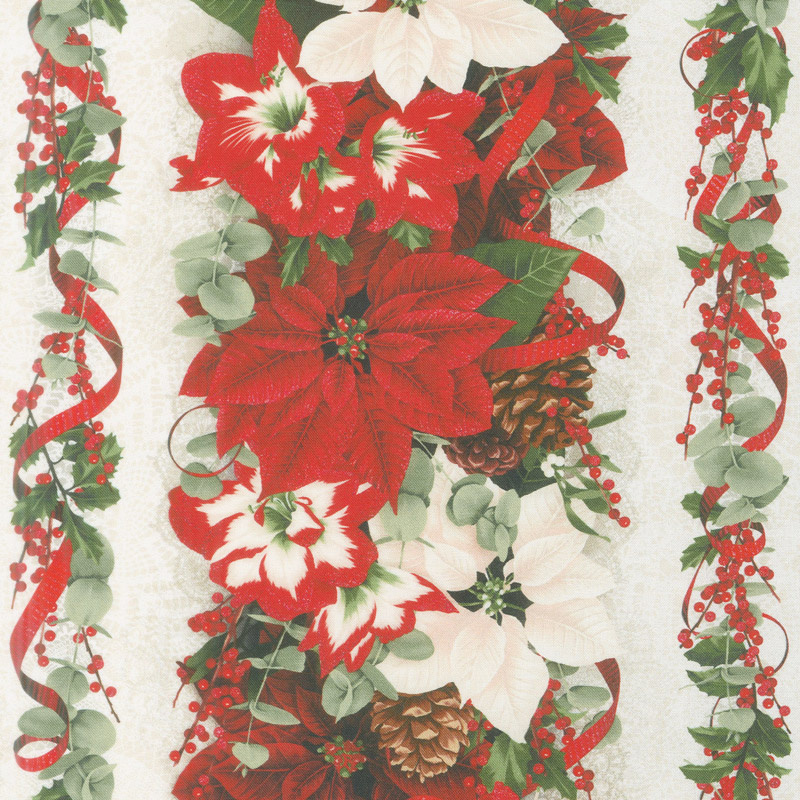Let It Sparkle - Yuletide Treasure Winter White Digitally Printed Yardage
