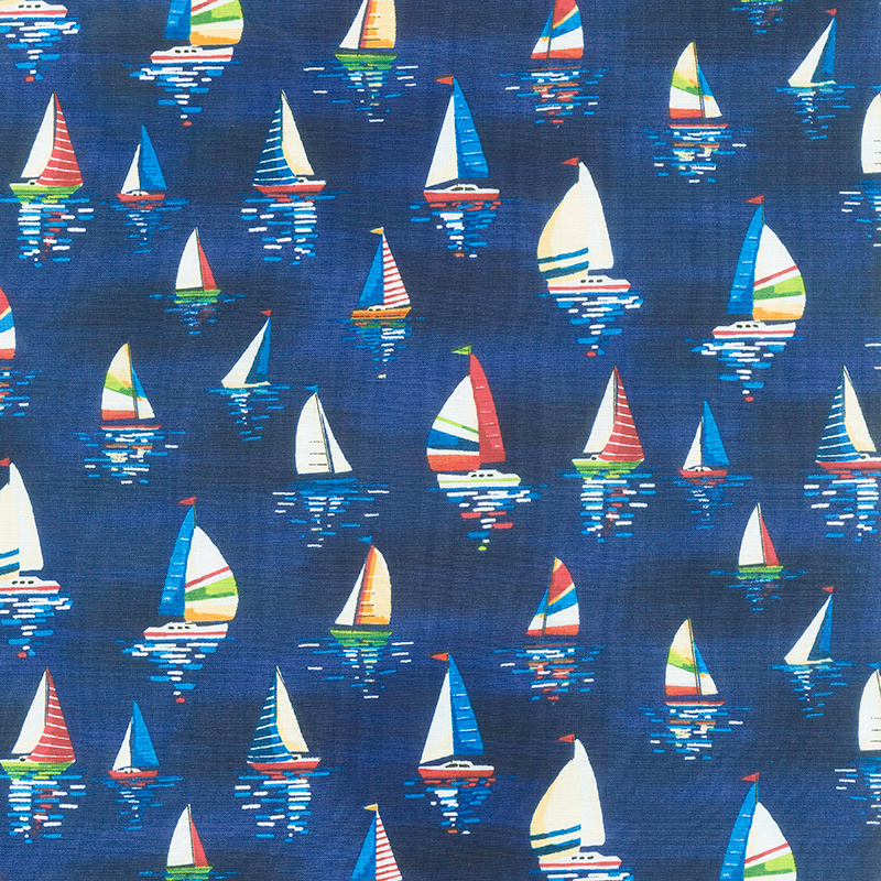 Beside the Sea - Sailboats Dark Blue