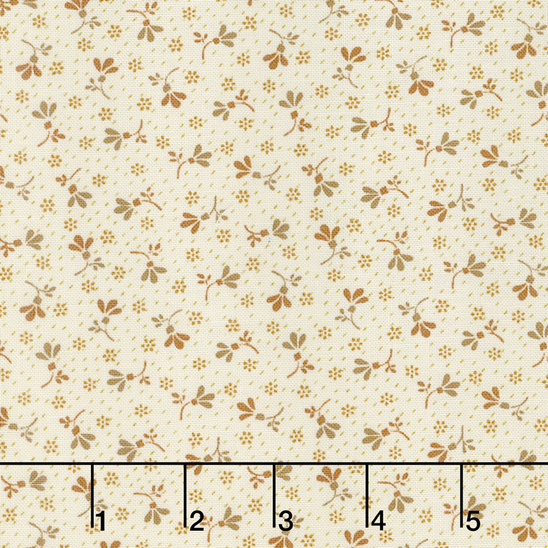Buttermilk Blossoms - Calico Toss Taupe Yardage