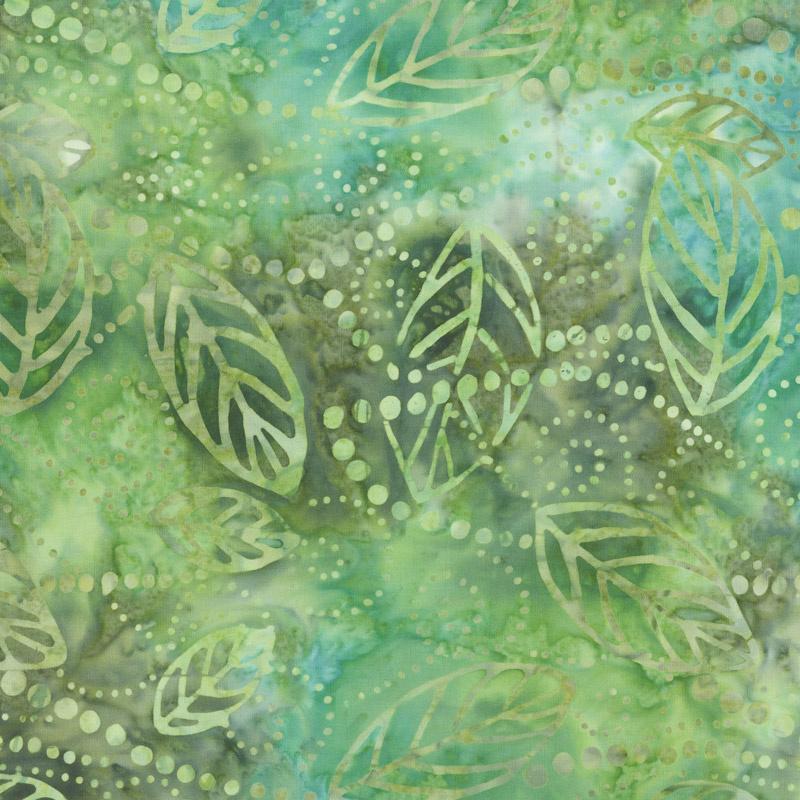 Ivy League Batiks - Floating Leaves Green/Brown Yardage