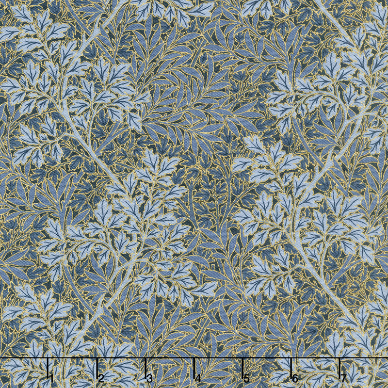 Morris Holiday 1899 - Foliage Indigo Metallic Yardage