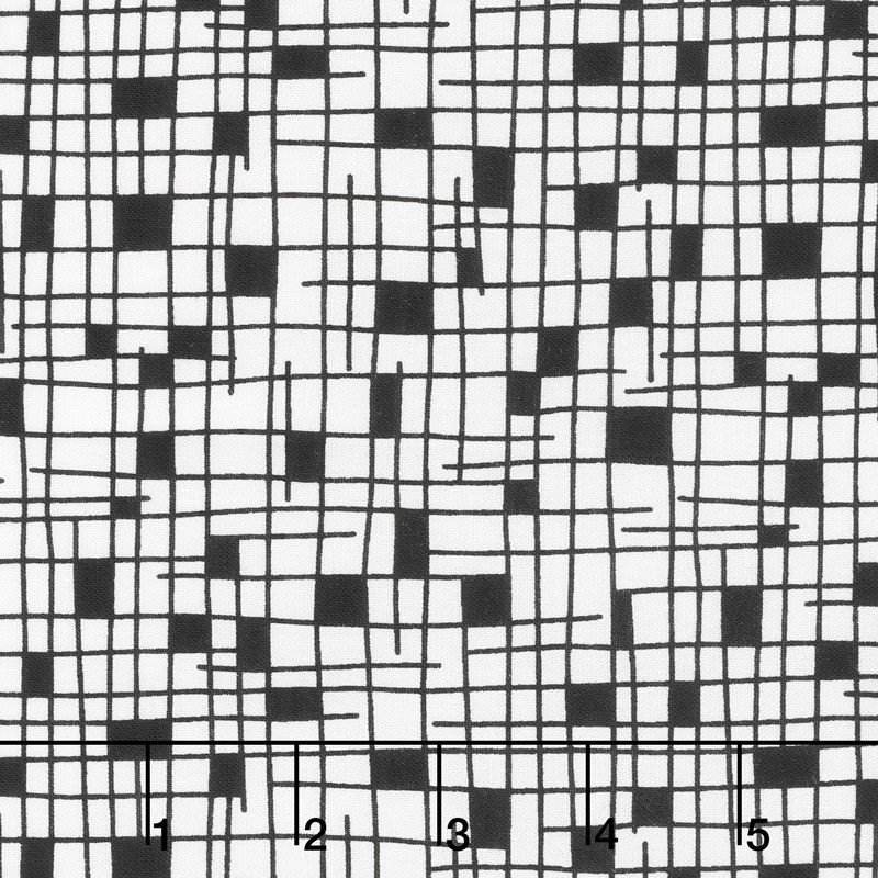 Panda Prints Grid White Yardage Kim Schaefer Andover