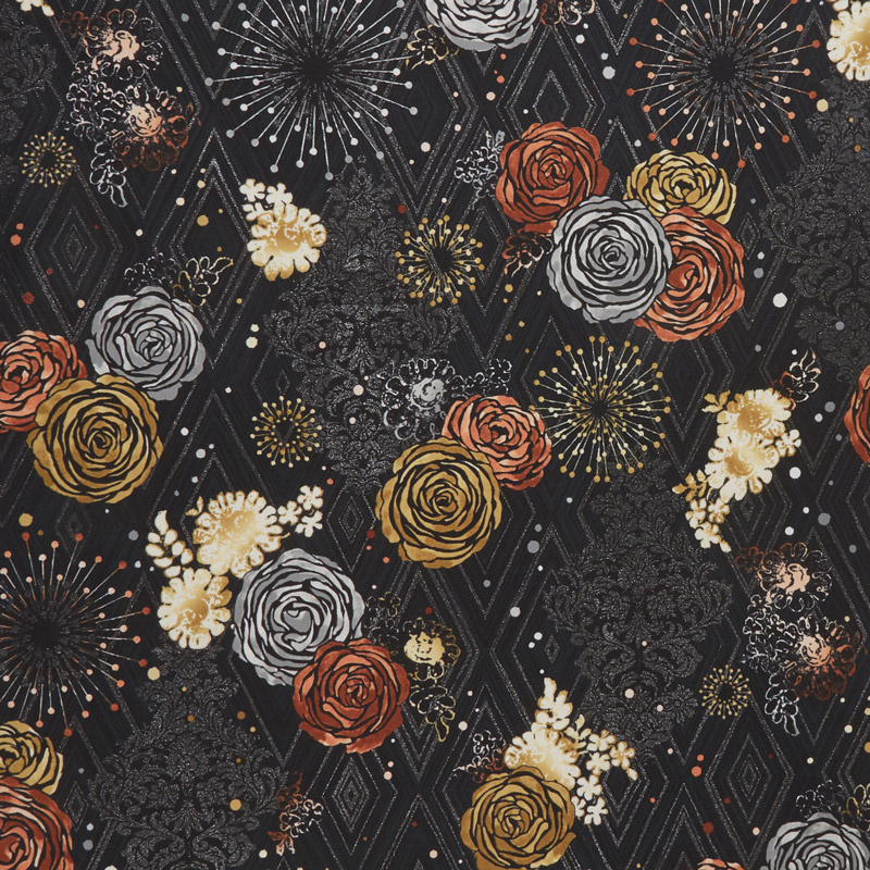 Shiny Objects - Precious Metals Adornment Radiant Rose Gold with Black Glitter Yardage