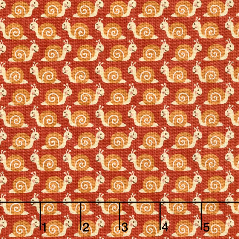 Camp - A - Long Critters - Snails Dark Orange Yardage
