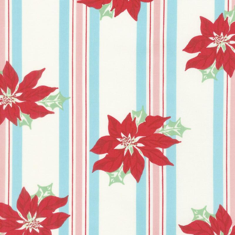 Sweet Christmas - Poinsettia Stripe Coolmint Yardage