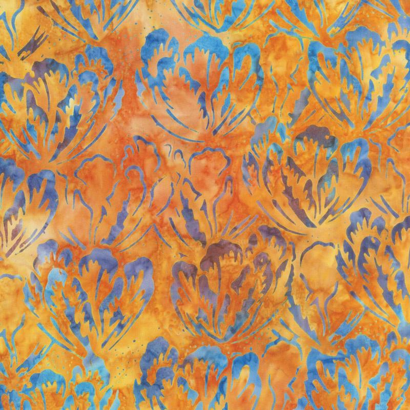 Tonga Batiks - Dragonfly Hibiscus Sunset Yardage