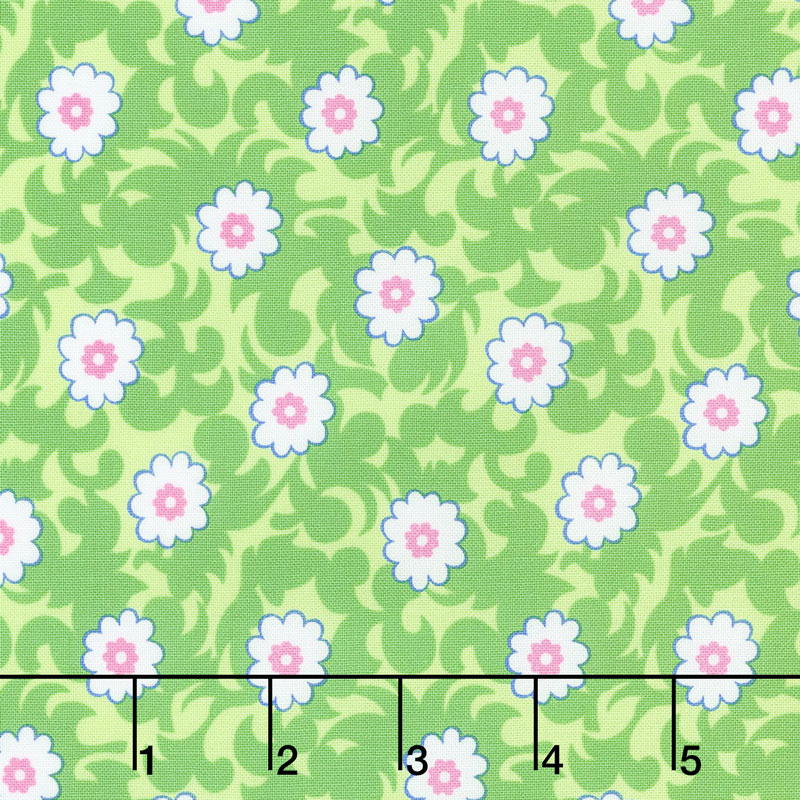 Flower Sacks - Fancy Flowers Green Yardage