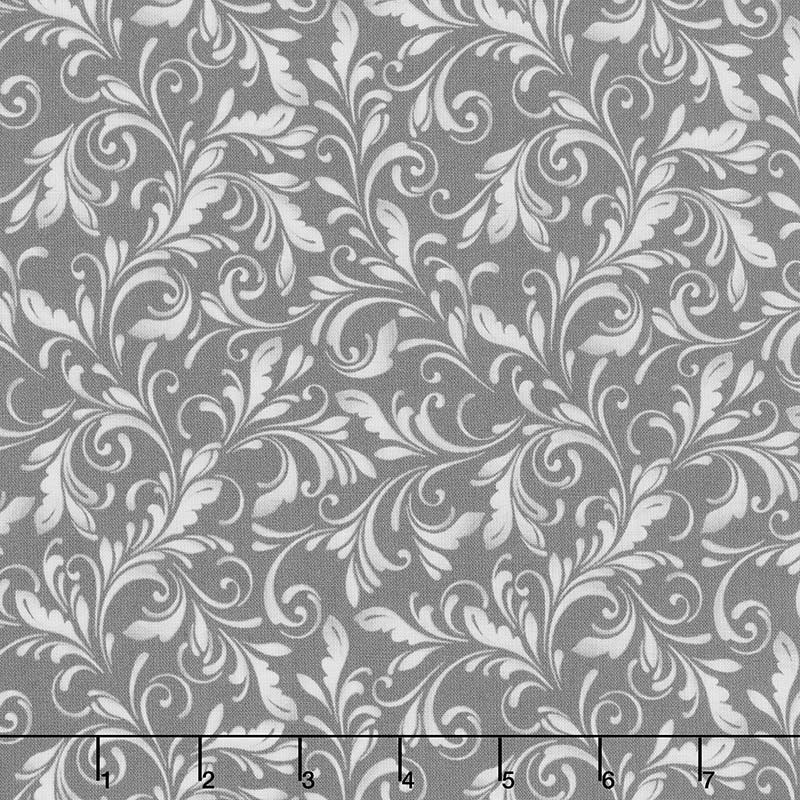 Marguerite - Scroll Charcoal Yardage