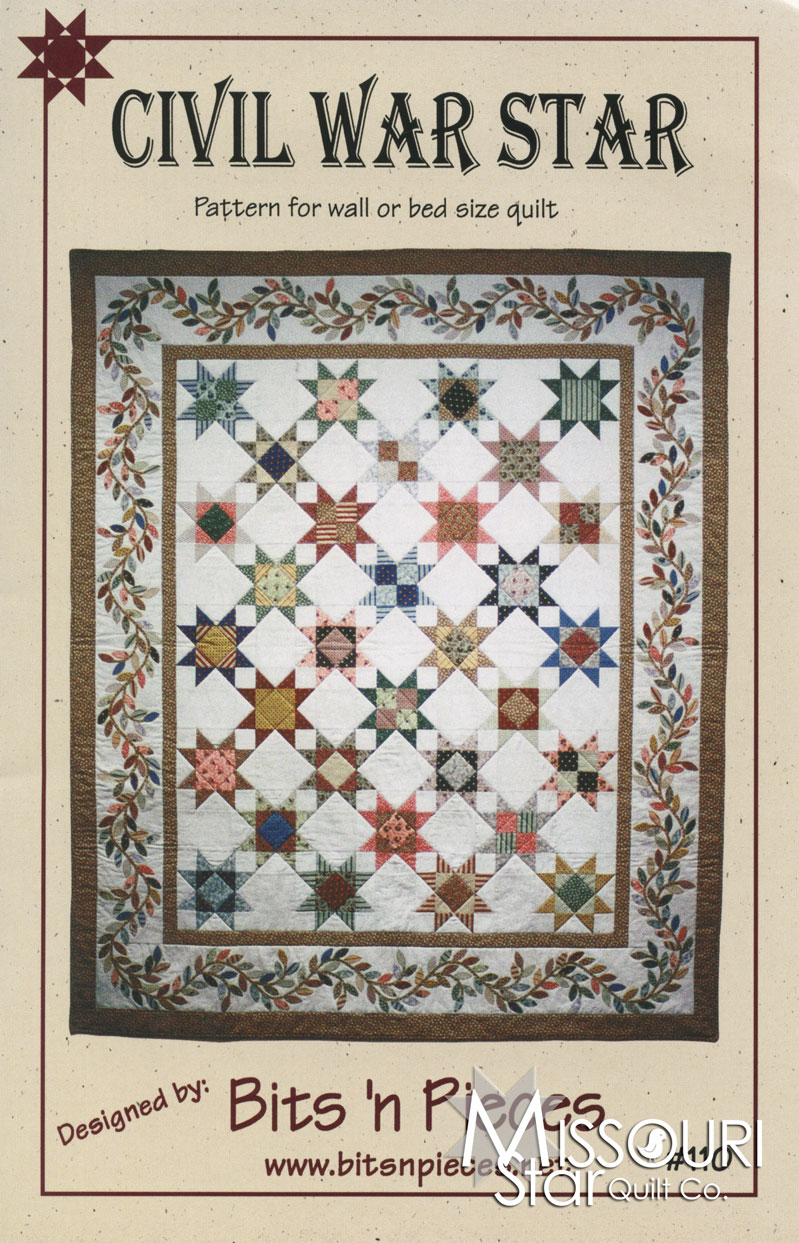Quilted Wall Hanging Patterns civil war star quilt / wall hanging pattern - bits n' pieces