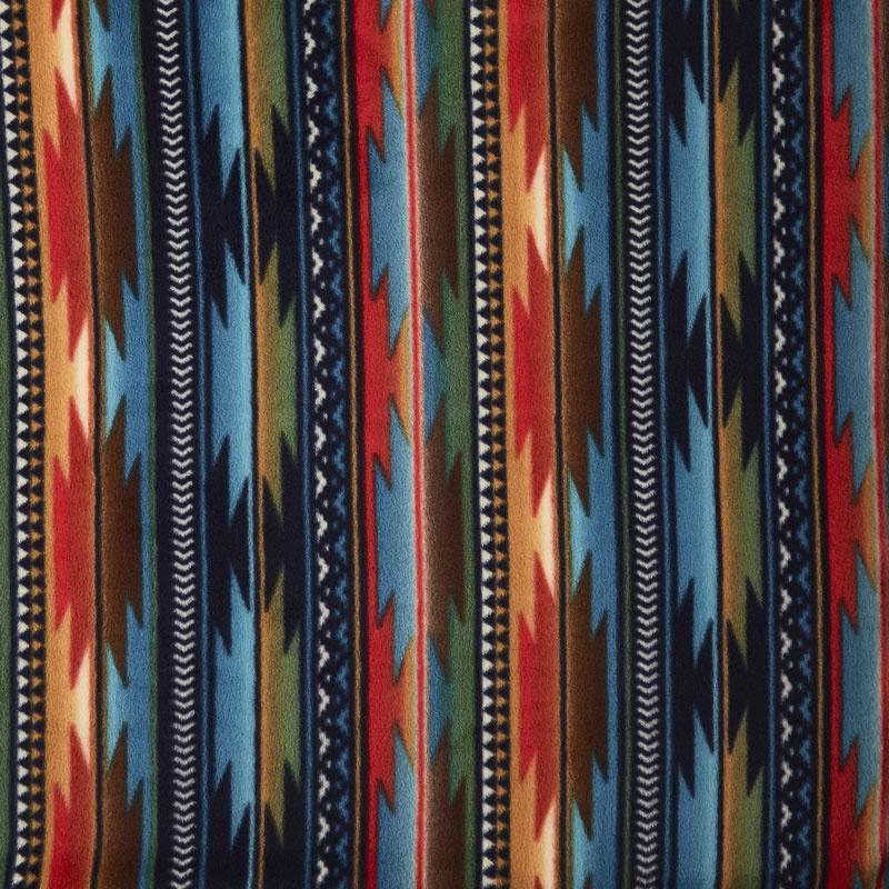 Winterfleece Prints Southwest - Sunset Stripe Blue Fleece Yardage