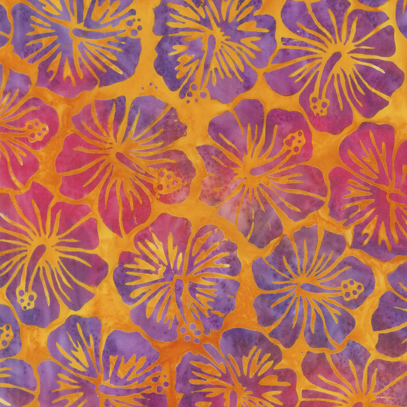 Artisan Batiks - Totally Tropical Hibiscus Sunburst Yardage