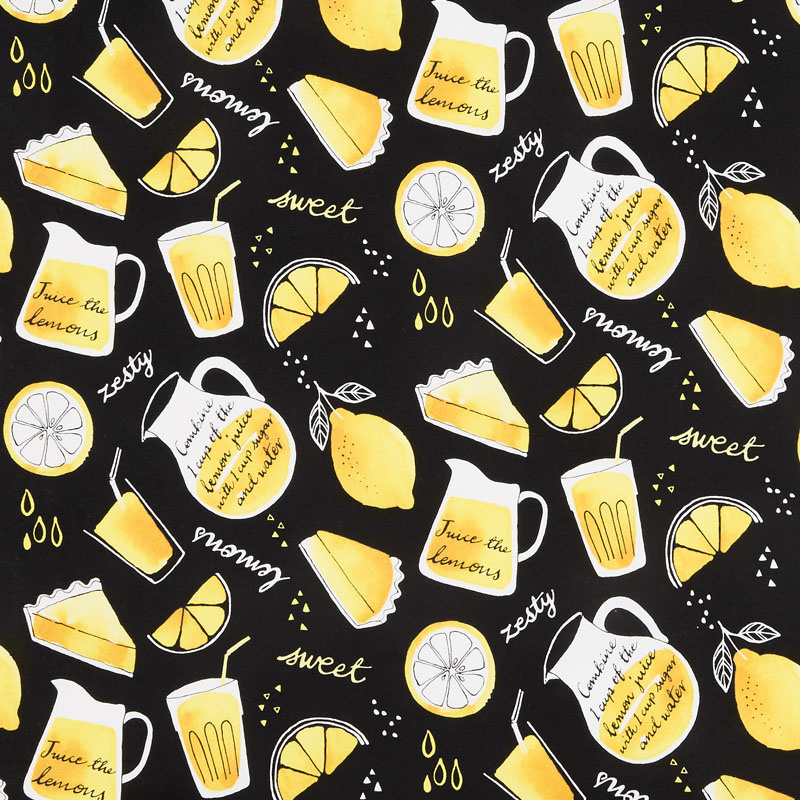 When Life Gives You Lemons - Lemonade and Pie Black Yardage