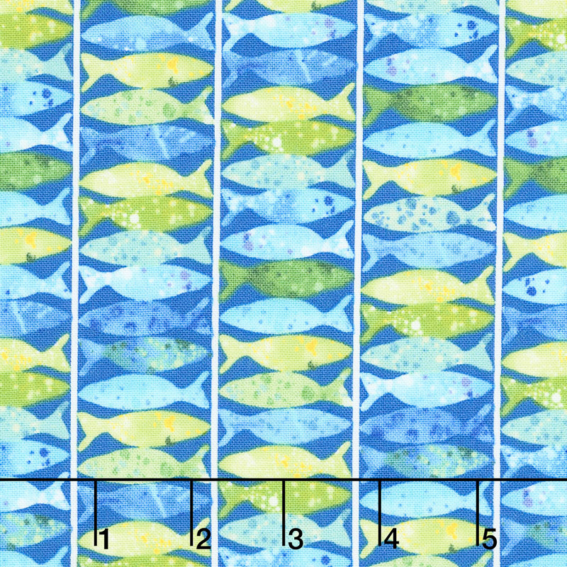 Ocean State - Fish Stripe Dark Blue Yardage