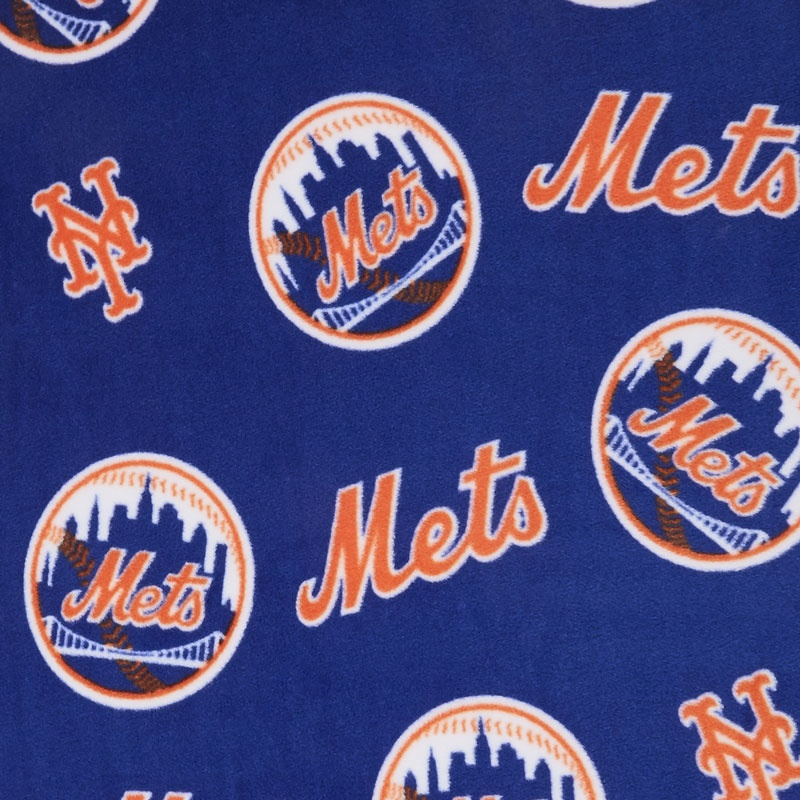 MLB Fleece - New York Mets Blue/Orange Yardage
