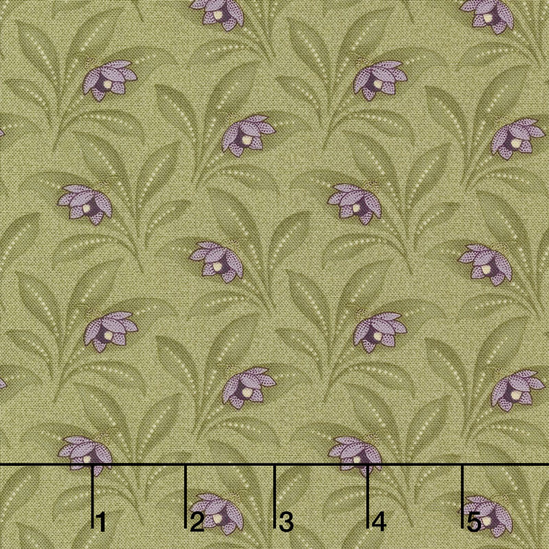 Sweet Violet - Violet & Leaves Leaf Yardage