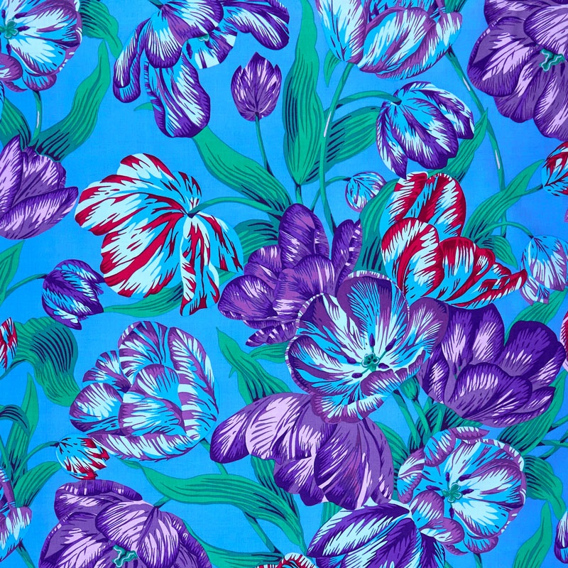 Kaffe Collective Spring 2017 - Shade Tulip Extravaganza Blue Yardage